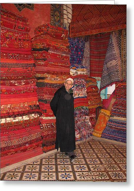 Morocco Marrakesh Rug Merchant Greeting Card By Yvonne Ayoub