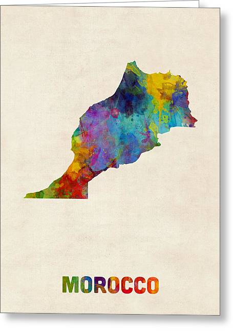 Morocco Watercolor Map Greeting Card by Michael Tompsett