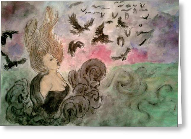 Morrighan Greeting Card by Jennie Hallbrown
