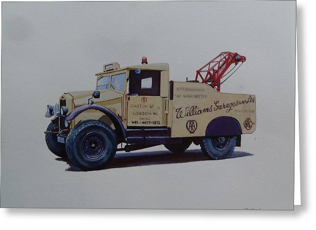 Greeting Card featuring the painting Morris Commercial Wrecker. by Mike Jeffries