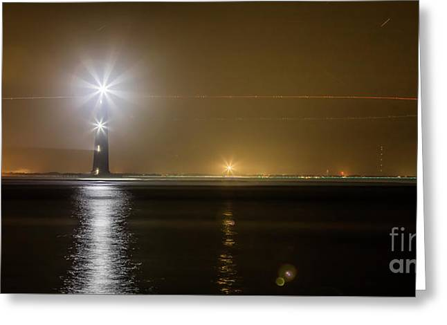 Morris Island Light House 140 Year Anniversary Lighting Greeting Card by Dustin K Ryan