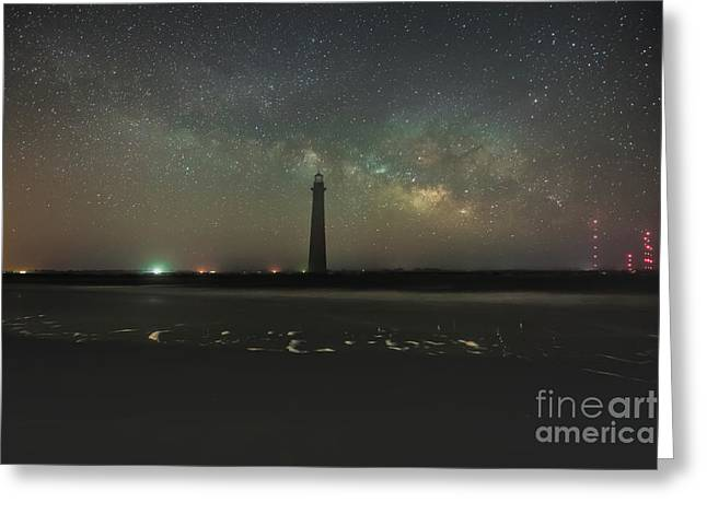Morris Island Light House Milky Way Greeting Card