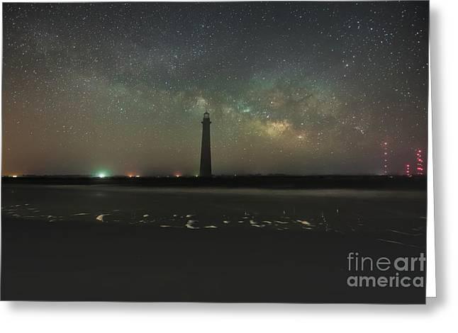 Morris Island Light House Milky Way Greeting Card