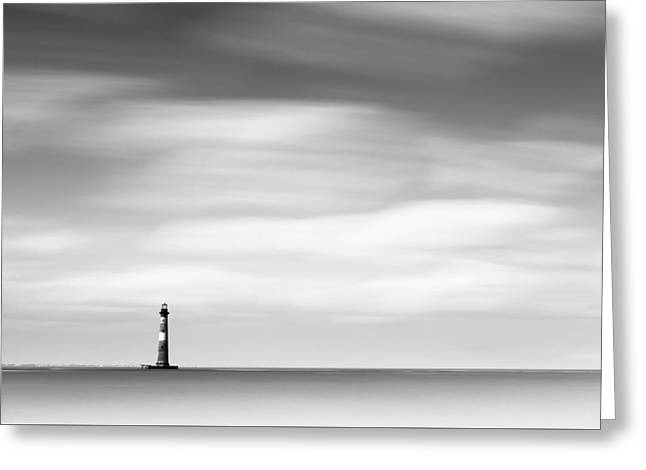 Morris Island Lighthouse Bw Greeting Card
