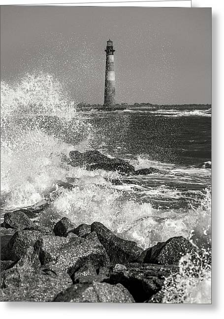 Morris Island Lighthouse Waves Against Rocks Greeting Card by Donnie Whitaker
