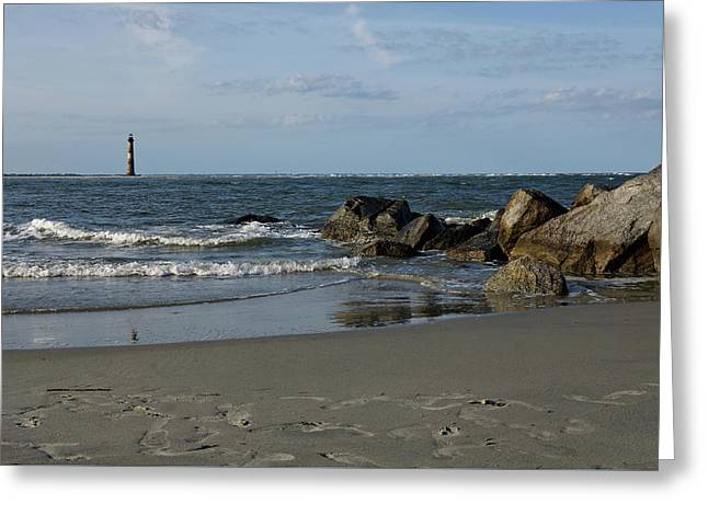 Greeting Card featuring the photograph Morris Lighthouse by Sandy Keeton