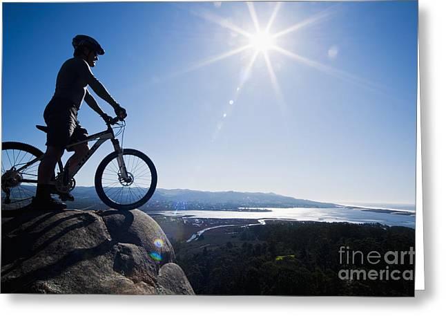 Morro Bay Biker Greeting Card by Bill Brennan - Printscapes