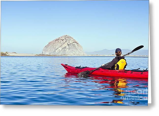 Morro Bay Kayaker Greeting Card by Bill Brennan - Printscapes