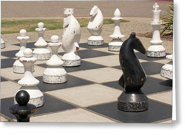 Morro Bay Outdoor Chess Greeting Card