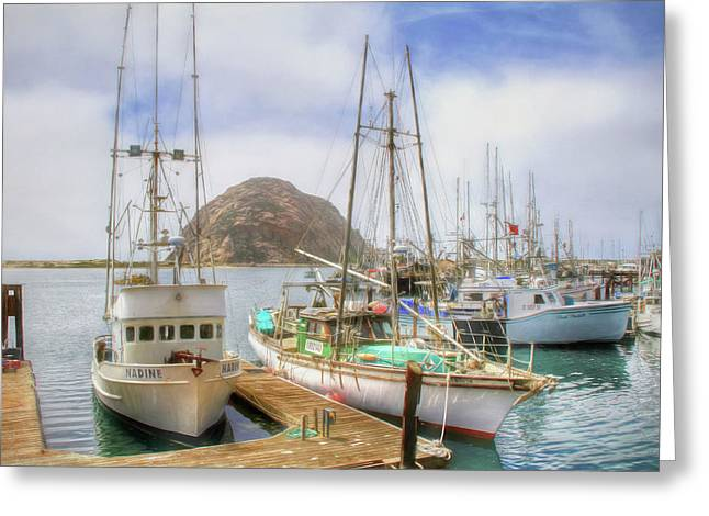 Greeting Card featuring the photograph Morro Bay Rock And Marina by Donna Kennedy