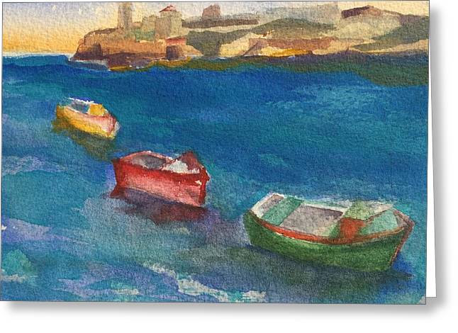 Morro Castle And Three Boats Greeting Card