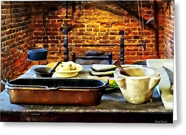 Mortar And Pestles In Colonial Kitchen Greeting Card