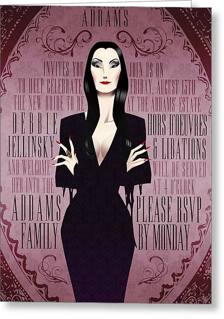 Morticia Addams Bridal Shower Invite Greeting Card by Christopher Ables