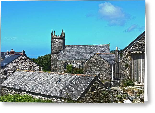 Morvah Church Through The Rooftops Greeting Card by Terri Waters