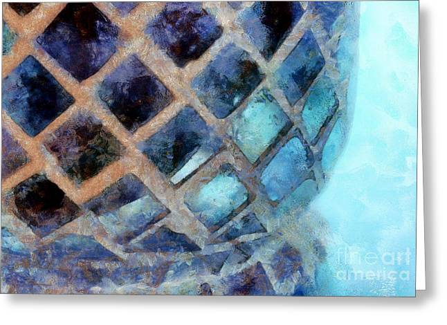Mosaic Blues Greeting Card by Krissy Katsimbras