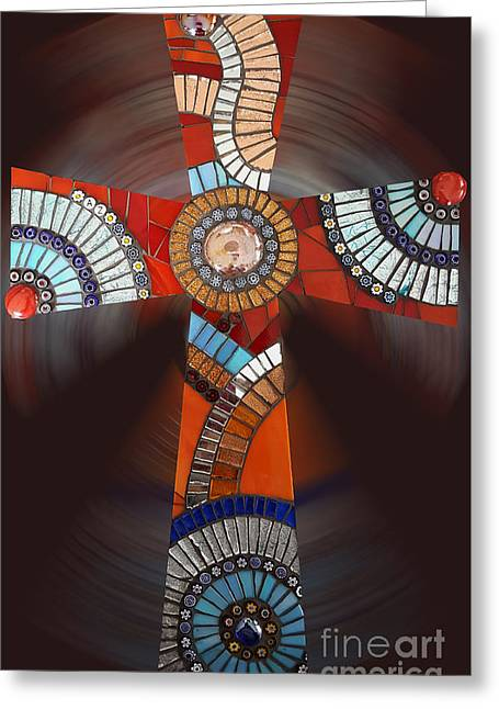 Mosaic Cross #2 Greeting Card by Adriana Zoon