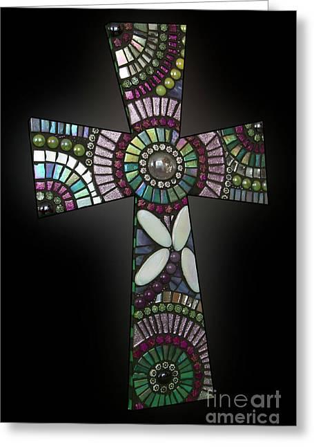Mosaic Cross #1 Greeting Card by Adriana Zoon