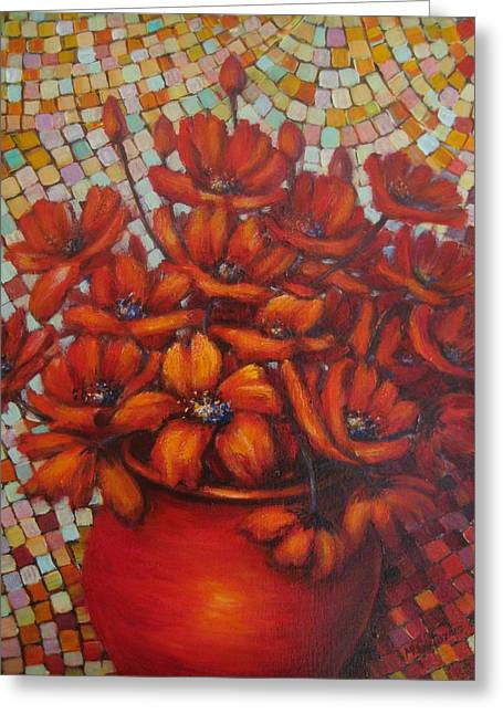 Mosaic Flowers Greeting Card by Mirjana Gotovac
