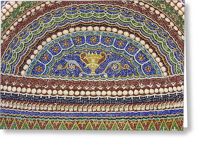 Mosaic Fountain Detail 4 Greeting Card by Teresa Mucha