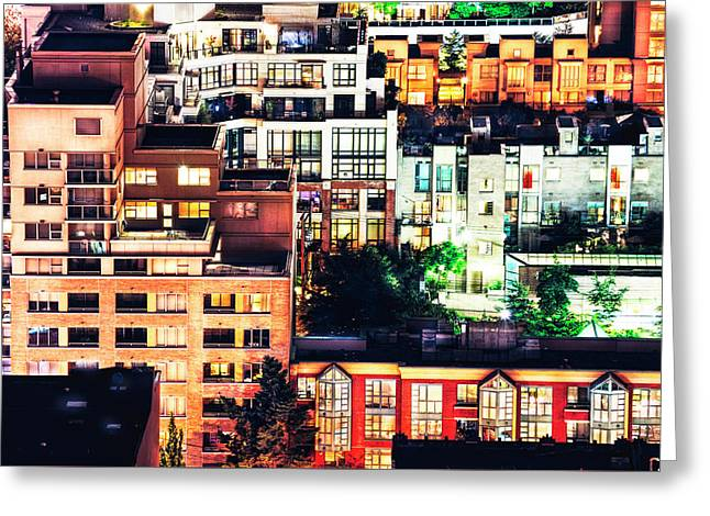 Mosaic Juxtaposition By Night Greeting Card