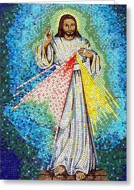 Greeting Card featuring the photograph Mosaic Of Christ Rising by Joseph Frank Baraba