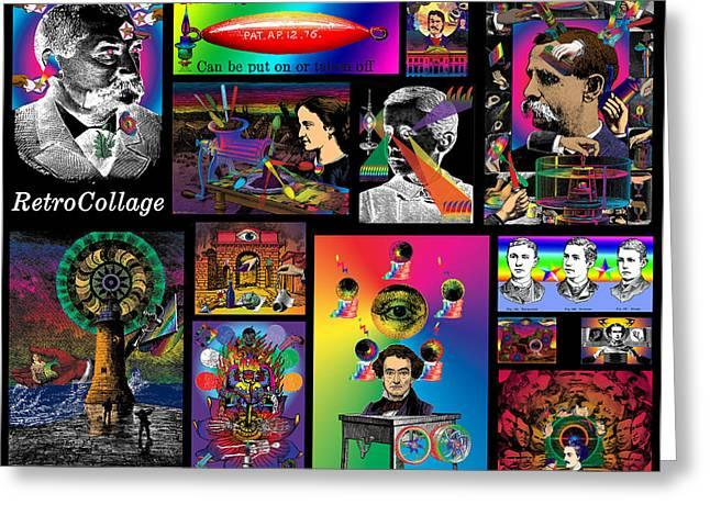 Phantasmagorical Greeting Cards - Mosaic of RetroCollage I Greeting Card by Eric Edelman