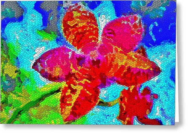 Mosaic Orchid Greeting Card