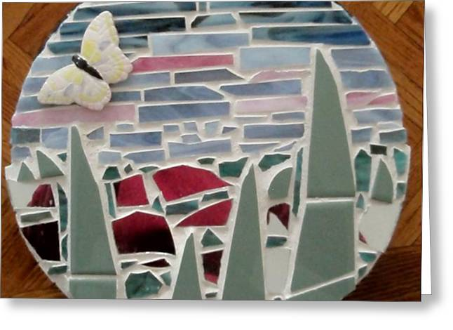 Round Ceramics Greeting Cards - Mosaic Sailboats Greeting Card by Jamie Frier