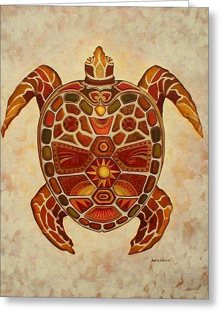 Mosaic Sea Turtle Greeting Card by Anita Carden