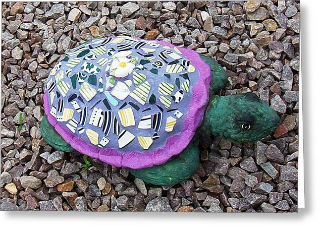 Greeting Card featuring the ceramic art Mosaic Turtle by Jamie Frier
