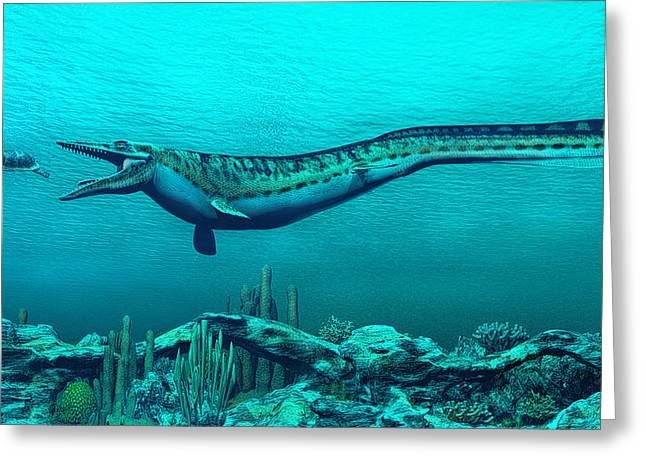 Mosasaurs Greeting Card by Walter Colvin