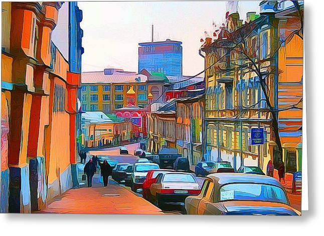 Moscow Center Streets 11 Greeting Card by Yury Malkov