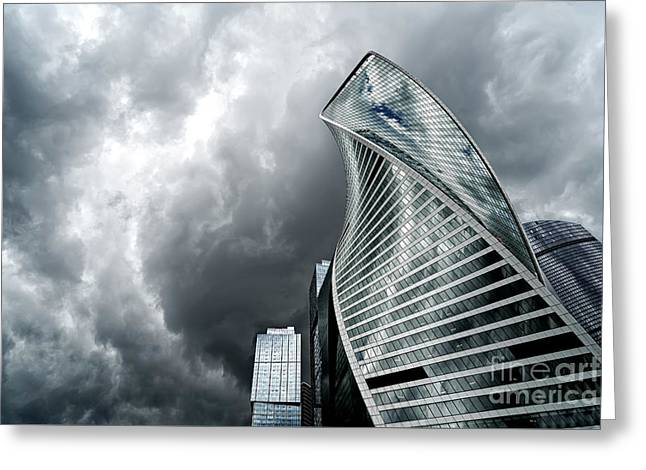 Moscow City And Storm Greeting Card