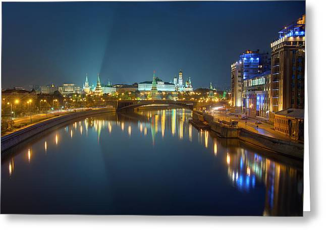 Greeting Card featuring the photograph Moscow Kremlin At Night by Alexey Kljatov
