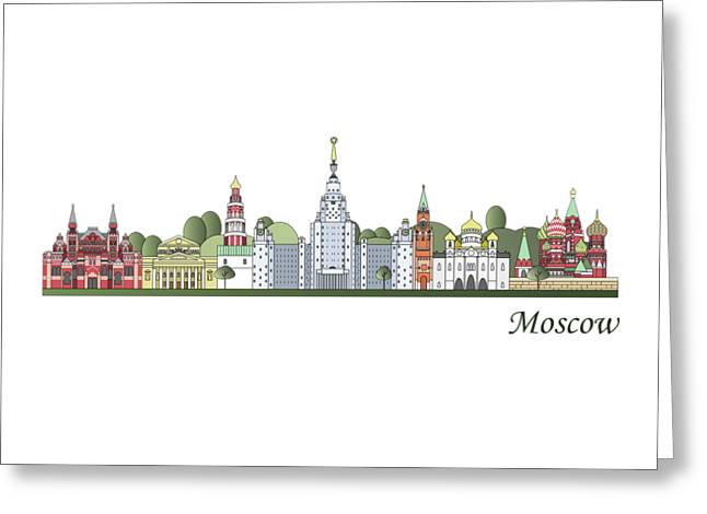 Moscow Skyline Colored Greeting Card by Pablo Romero