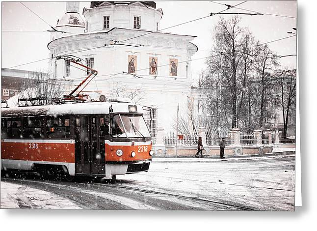 Moscow Tram. Snowy Days In Moscow Greeting Card by Jenny Rainbow