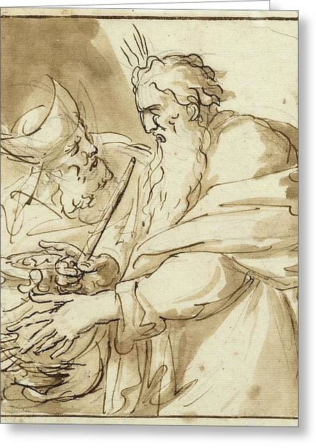 Moses And Hur With A Water Jug Greeting Card