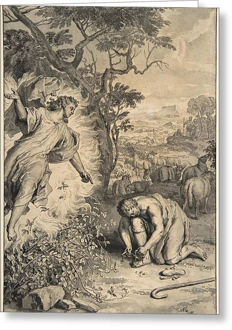 Moses And The Burning Bush Greeting Card by Gerard Hoet