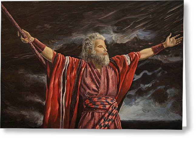 Greeting Card featuring the painting Moses Parting The Red Sea by Rosencruz  Sumera