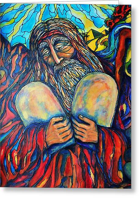 Greeting Card featuring the painting Moses by Rae Chichilnitsky