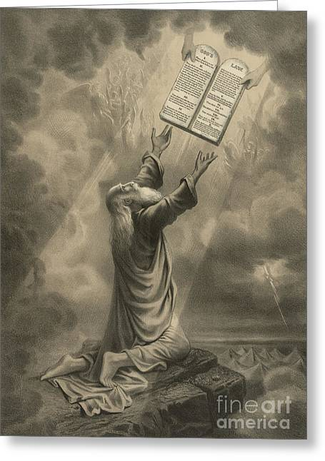 Moses Receiving The Ten Commandments Greeting Card by Science Source