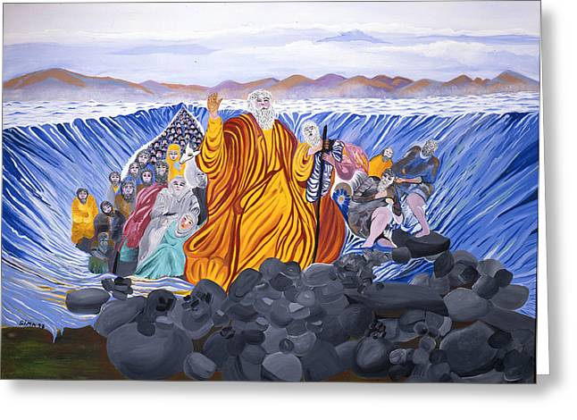 Greeting Card featuring the painting Moses by Sima Amid Wewetzer