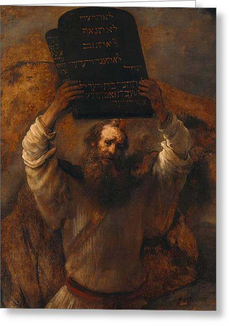 Moses With The Ten Commandments Greeting Card by Rembrandt