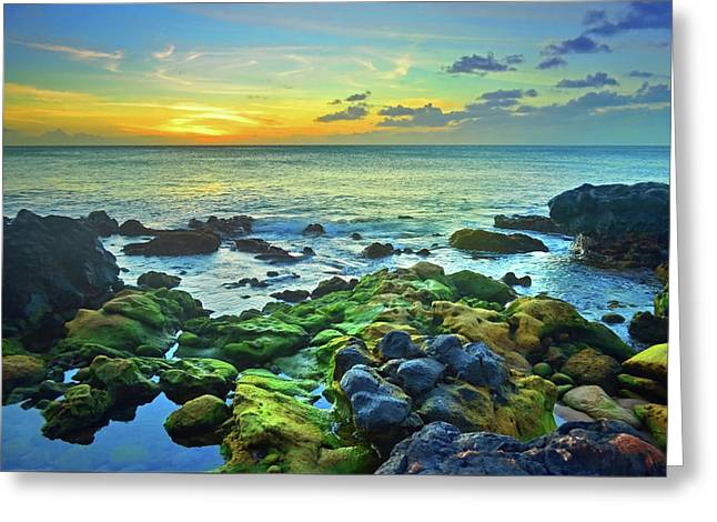 Greeting Card featuring the photograph Moss Covered Rocks At Sunset In Molokai by Tara Turner