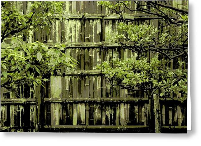 Mossy Bamboo Fence - Digital Art Greeting Card by Carol Groenen