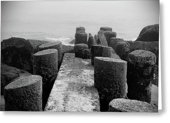 Mossy Jetty In Black And White - Jersey Shore Greeting Card