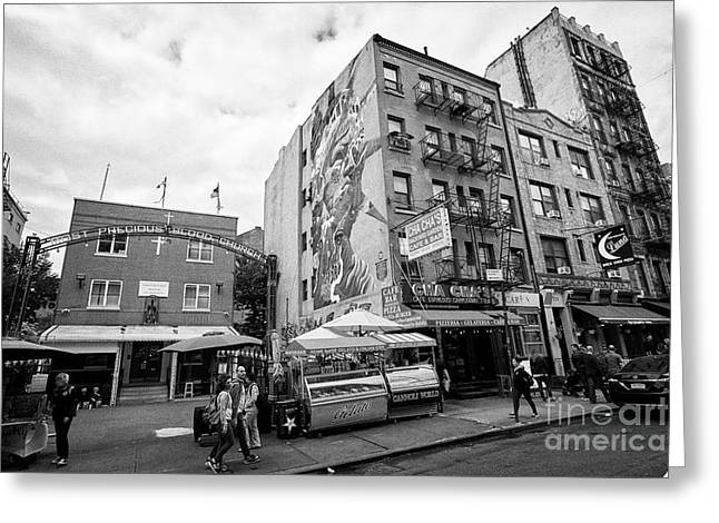most precious blood church and shopping in little italy New York City USA Greeting Card
