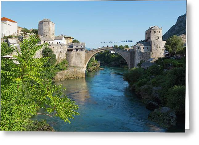 Mostar, Bosnia Herzegovina  The Single Arch Stari Most Or Old Bridge. Greeting Card by Ken Welsh