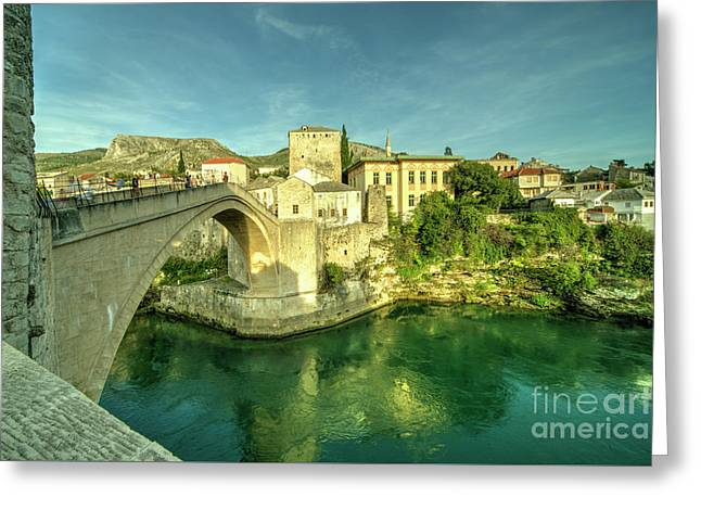 Mostar Bridge  Greeting Card by Rob Hawkins