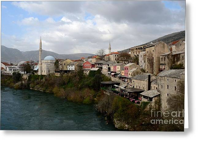 Mostar City With Mosque Minaret Medieval Architecture Neretva River Bosnia Herzegovina Greeting Card by Imran Ahmed